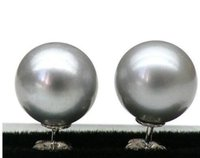 9mm runde perle großhandel-Freies Verschiffen 8.5-9mm +++ RUNDES SILBERNES GRAUES SÜDSEE-PERLEN-OHRRING 925 Sterlingsilber