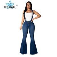 ingrosso cinturino in spaghetti di denim-Jeans a campana sexy con cinturino a spaghetti per le donne Pantaloni a vita bassa con retro in denim vintage femminile a vita alta