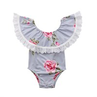 комбинезон без спинки оптовых-Emmababy Newborn Infant Kids Baby Girl Off-shoulder Striped Backless Floral Bodysuit Jumpsuit Clothes Outfit