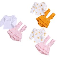 Wholesale two coloured dresses for sale - Group buy Girls Suits Children Round Neck Long Sleeve Shirt Strap Dress Children Button Strap Two Piece Set