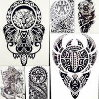 cuerpo rey al por mayor-Lion King Warrior Pegatinas de tatuajes temporales Hombres Robot Brazo Falso Impermeable Maori Tatuajes Arte Corporal Totem Tatoo Negro Papel