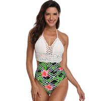 bikini de tejer al por mayor-Mujeres Sexy de una sola pieza de cintura alta Bikini Flores de encaje de impresión traje de baño traje de baño ropa de playa floral de punto bikini BMA M1818