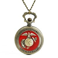 Wholesale big watch necklace resale online - Big United States MARINE CORPS retro Pocket Watches Men Vintage Style Fob Watch Necklace Pendant Bronze Timepieces Male Clock