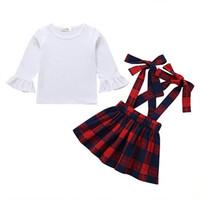 verificador blanco al por mayor-Little Girl Primavera y otoño Algodón Falda a cuadros Traje Chica Manga larga Blanco Top Cinturón Falda Dos trajes