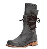kışlık bot modelleri toptan satış-Patlama modelleri 2018 sonbahar ve kış düşük topuk kare tüp perçin ile perçin ile çizmeler kadın 34-43Women's Boots