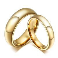 Wholesale gold jewellery ring man online - 20 Tungsten Carbide Gold Ring For Men Women Lovers Wedding Band Alliance Bridal Jewellery Sets Couples Ring