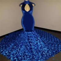 Wholesale art busts for sale - Group buy Royal Blue Prom Dresses High Neck Open Bust Cap Sleeves Mermaid Evening Dress Rose Train Formal Party Gowns Vestidos robes de soiree
