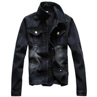 shanghai cheio venda por atacado-Xangai história do vintage jaqueta de outono dos homens completa manga denim preto lavagem jaqueta jeans tamanho max s-4xl carro-styling jaqueta jeans dos homens plus size