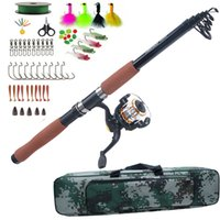 Wholesale fishing lures bags for sale - Group buy Fishing Rod Combo set Sea Spinning rod reel bag kit with fishing lure hook Texas rig kit tackle tools