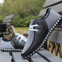 холст обувь бизнес случайный оптовых-Men's Leather Loafer Lace-up Shoes Casual Business Breathable Soft Slip Canvas Sneaker Ultralight Shoes Fashion