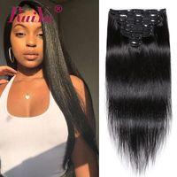 наращивание волос полный клипы оптовых-Бразильские прямые зажимы для наращивания волос 8 шт. / Комплект Полная головка 100% необработанный зажим для наращивания волос Ruiyu Remy Hair Wefts
