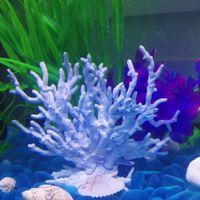 Wholesale floating artificial plants resale online - 1pc artificial coral blue fish tank decor floating faux sea plant ornament aquarium simulation coral reef fish home decoration