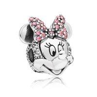 clips 925 achat en gros de-100% argent sterling 925 chatoyant MM Portrait Clip Charm Perle Convient Européen Pandora Bijoux Charme Bracelets