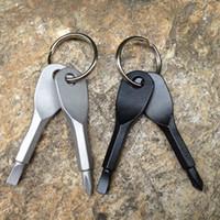 schraubendreher anhänger großhandel-2pcs / set Schraubendreher Schlüsselanhänger Außen Tasche Schraubendreher-Satz Mini-Schlüsselanhänger mit Schlitz Phillips Hand Schlüsselanhänger RRA2057