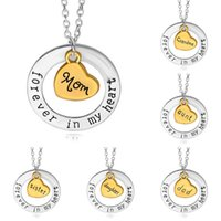 cadena en forma de al por mayor-Moda, amor, sueño, collar, joyas, día de la madre, colgante, gargantilla, letra para siempre en el corazón, mamá, cadena de clavícula, colgantes en forma de corazón, C6204