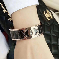 Wholesale black tungsten bracelets for men resale online - Deluxe high quality girls Titanium Steel K rose gold black wide love letter wedding bangles bracelets for men women