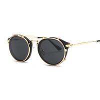 gotik yuvarlak güneş gözlüğü toptan satış-Vidano Optik vintage yuvarlak kadınlar güneş gözlüğü steampunk retro erkekler kadın tasarımcı gözlük gothic sunglass óculos de sol ...
