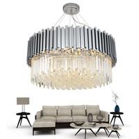 neue kronleuchter großhandel-Neue moderne kronleuchter beleuchtung chrom poliertem stahl kristall lampe luxus runde wohnzimmer esszimmer led cristal lustre