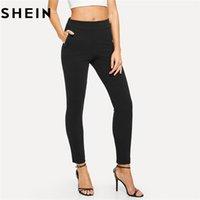 kadınlar için zarif siyah pantolon toptan satış-Elastik Bel Siyah Çizgili Orta Bel Sıska Pantolon Sonbahar Ofis Bayan Zarif Slim Fit Dikey Kadın Kalem Pantolon