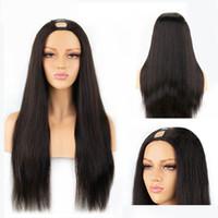 Wholesale 22 u part wig resale online - U Part Lace Front Human Hair Wigs Brazilian Straight Human Hair Lace Front Wigs For Black Women u Part Short Human Hair Wigs