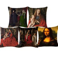 Wholesale portraits paintings resale online - Mona Lisa Audrey Hepburn Cushion Covers Europe Oil Painting Beauty Portrait Beige Linen Pillow Case X45cm Bedroom Sofa Decor