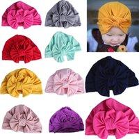 neugeborene hüte ohren großhandel-Neugeborenes Baby-nette Hut-Turban-Kopf-Verpackungs-Hüte mit Bogen-Milch-Faser-Kind-Mädchen-Mode-Winter