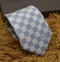 gravata de seda de champanhe venda por atacado-Laços de seda dos homens da marca de moda 8.0 cm Gravatas Gravatas fio-tingido monograma gravata marca caixa de presente empate