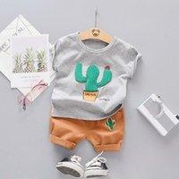 erkek gündelik gömlek giymek toptan satış-Yaz Moda Yürüyor bebek Giyim Setleri Bebek Kız Erkek Giysileri Takım Elbise Kaktüs T Gömlek Şort Çocuklar Eşofman Çocuk Gündelik Giyim