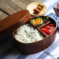 ingrosso bocce in legno giapponese-scatola di pranzo giapponese bento legno naturale fatto a mano di legno contenitore di sushi da tavola ciotola contenitore di alimento ZZA1349-3