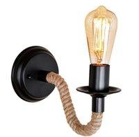 vintage wandmontage lampen großhandel-Retro Industrie Lampe Vintage Hanfseil LED Wandleuchte Loft Wandleuchte Innenbeleuchtung Treppen Wohnzimmer Lampen LLFA