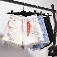 short en jean taille haute sexy achat en gros de-Zqlz été Short taille haute en denim femmes Taille Plus 5XL en vrac Trou Glands Harajuku Hot Pants Jeans sexy robe fille Printemps