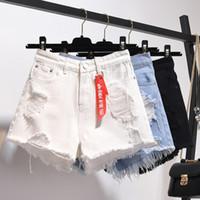 pantalones vaqueros pantalones mujeres calientes al por mayor-Zqlz verano de cintura alta pantalones cortos de mezclilla mujeres más tamaño 5XL Pantalones Loose agujero borlas Harajuku Hot Sexy Jeans Short Spring Girl