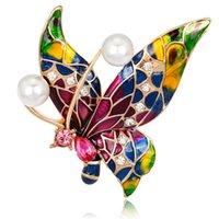 ingrosso cappelli a farfalla-Spilla elegante intarsio di moda con strass intarsiati dipinti farfalla corpetto classico retrò cappello smalto vestito abito spilla