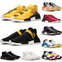 zapatos de camping para hombres al por mayor-2019 adidas pharrell williams nmd human race races tenis hombres zapatos para correr mujer muestra amarillo Core Black Nerd Black zapatillas de deporte 36-47
