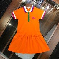 chicas de polo al por mayor-Ropa de diseño para niños otoño, el nuevo vestido de las niñas está hecho de dos colores de algodón con cuentas vestido de polo clásico vestido de falda