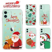 transparente i telefon fall großhandel-Frohe Weihnachten-TPU für iPhone 11 Pro i-Telefon 6 7 8 Plus X Xr Xs Max Galaxy Note 10 10+