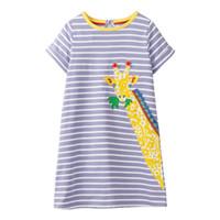 bebek kız zürafa toptan satış-Aplike Hayvanlar Bebek Elbiseleri Yaz zürafa Kız Giyim pamuk Kısa kollu şerit prenses çocuklar tunik elbise