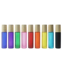Wholesale frosted roll bottles resale online - 10ml Rainbow Glass Liquid Essential Oil Perfume Bottles Frosted Roll on Bottle with Stainless Steel Balls Types of Lids for choose