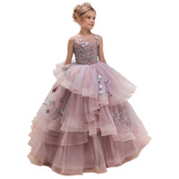 Wholesale prom dresses shops for sale - Group buy Light Purple Flower Girl Dresses Floor Length Teenage Party Dresses Online Shopping Exquisite Embroidery Tulle Long Prom Dress