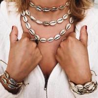 ingrosso collane di gioielli-2019 Collana in conchiglia d'oro naturale di Puka Collana d'argento in tessuto di bestia selvaggia Bijoux Collier Femme Collana di conchiglia bijoux
