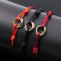 Wholesale heart bracelet red string resale online - Fashion love Charm Bracelets Red String Handcrafted Macrame Rope Bangles Cube Micro three circle Zircon love Bracelet Woman Man Jewelry