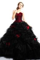 платья из красного шарика оптовых-2019 Винтаж Бургундия готический плюс размер бальное платье Свадебные платья свадебные платья без бретелек цветы черный и красный тюль Хэллоуин платье