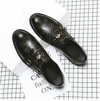 ingrosso casual comfy scarpe-2019 Mocassini casual in vera pelle per uomo. Scarpe morbide fibbia in metallo