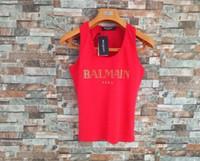 üst modal gömlekler toptan satış-Lüks kadın tasarımcı t shirt kolsuz tank yelek düz t gömlek tops yelek modal lady yoga spor tayt en tees