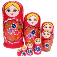 ingrosso set di bambole russe-8pcs / set di legno rosso ragazza Matryoshka bambola mano fai da te dipinte a mano russa bambole di nidificazione per bambini bambini ragazze regalo
