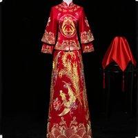roupas de vermelho chinês venda por atacado-Estilo chinês Mulheres Vestido Longo Cheongsam Vermelho Antigo Vestido de Noite Qipao Vestidos Do Vintage Bordado Estágio Show de Roupas