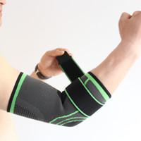 almofadas de cotovelo de tênis venda por atacado-Elastic Bandage Tennis Elbow Suporte Brace Protector Basketball Corrida Voleibol Compressão Ajustável Cotovelo Pads Brace