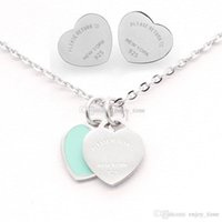 Wholesale t studs for sale - Group buy New Arrival Price colors T stamp Heart Stud Earrings Necklace L stainless steel Women s Necklace Earrings jewelry set