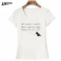 красивая девушка t рубашка оптовых-Beautiful music melody symbol Print T-Shirt Summer Fashion Women T-Shirt Cute Playtime Cat Design Girl Casual Tops Woman Tees