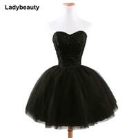 ingrosso pizzo nero maxi-Nuovo arrivo elegante breve Lace Up Princess Sweetheart che borda le donne di moda nero vestito da promenade Q190516